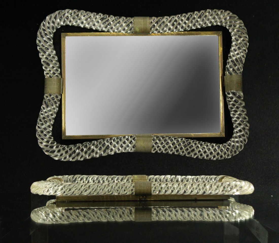 VENINI STYLE Glass And Mirrored Dresser Tray