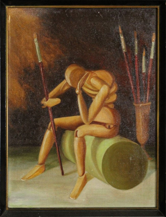 MAN RAY Painting of Mannequin with paint brushes. Oil/C - 2