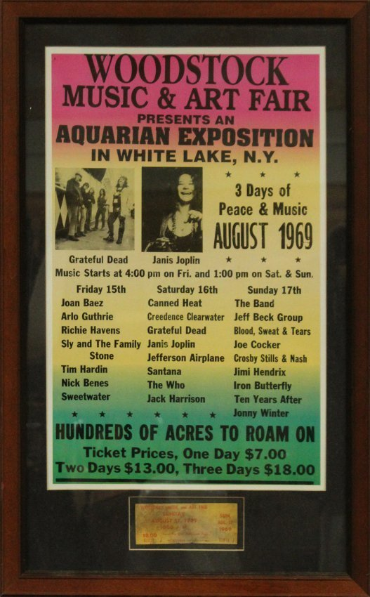 WOODSTOCK 1969  concert poster with ORIGINAL TICKET