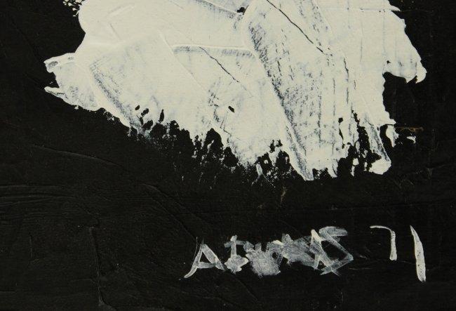 ANTONIO SAURA ATARES 1971 BLACK AND WHITE ABSTRACT OIL - 3