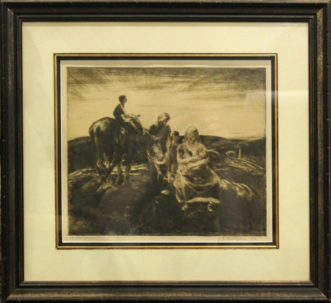 JOHN COSTIGAN  (1888 - 1972) SUNDOWN Signed Etching