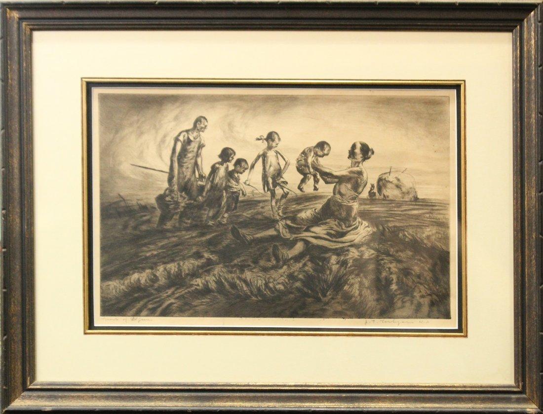 JOHN COSTIGAN  (1888 -1972) FARM FIGURES Signed Etching