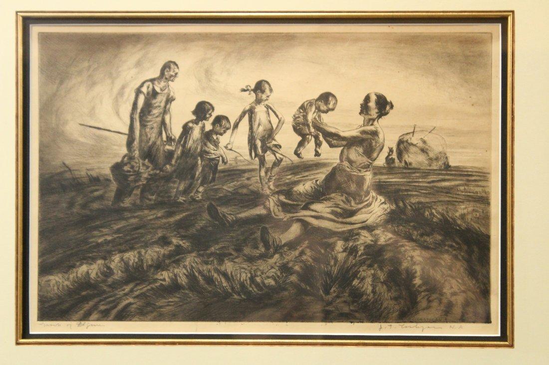 JOHN COSTIGAN  (1888 -1972) FARM FIGURES Signed Etching - 2