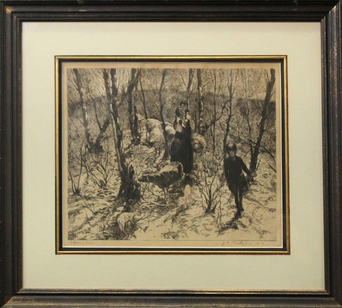 JOHN COSTIGAN  (1888 - 1972) SPRING TIME Signed Etching