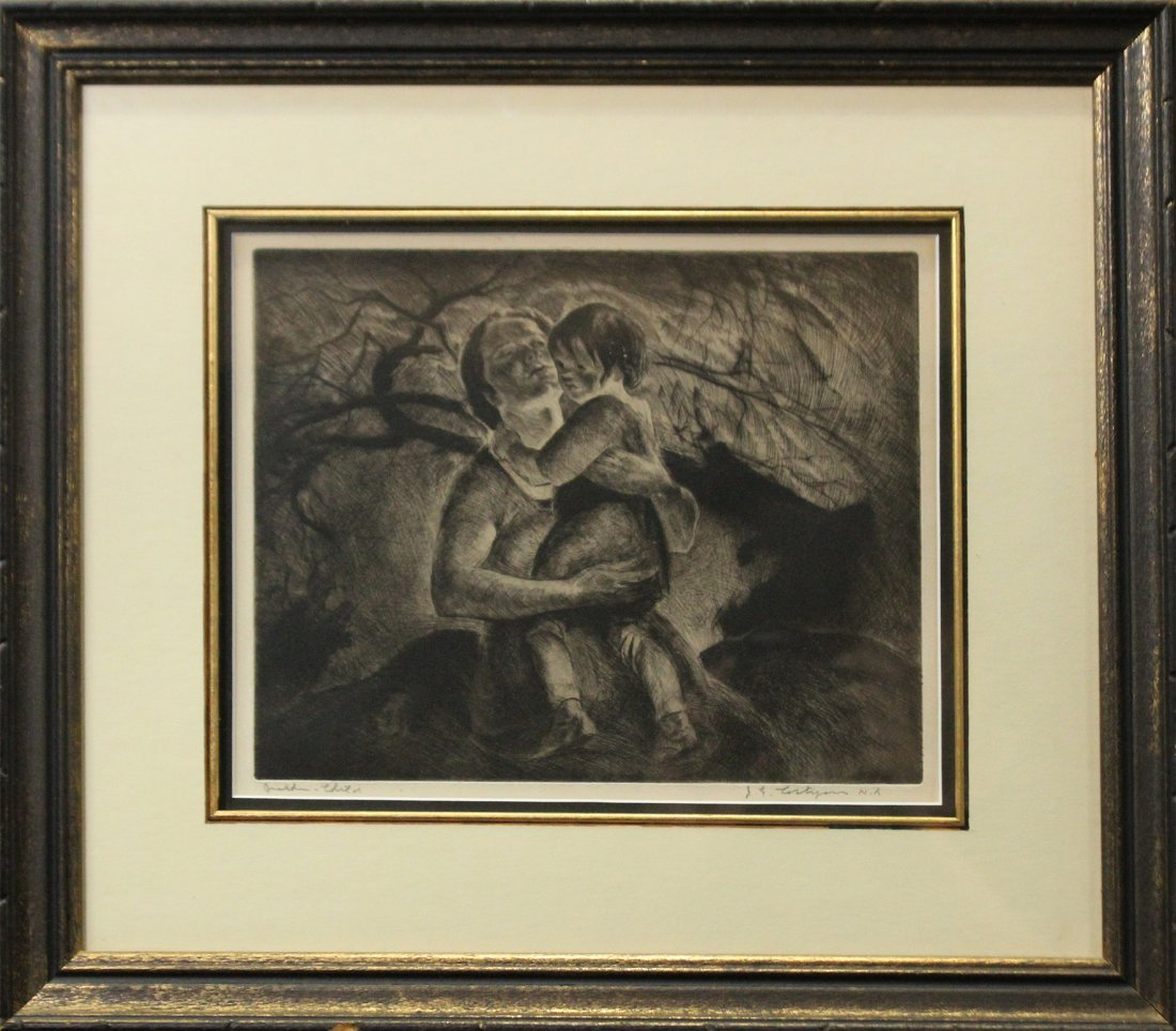 JOHN COSTIGAN  (1888 -1972) MOTHER CHILD Signed Etching