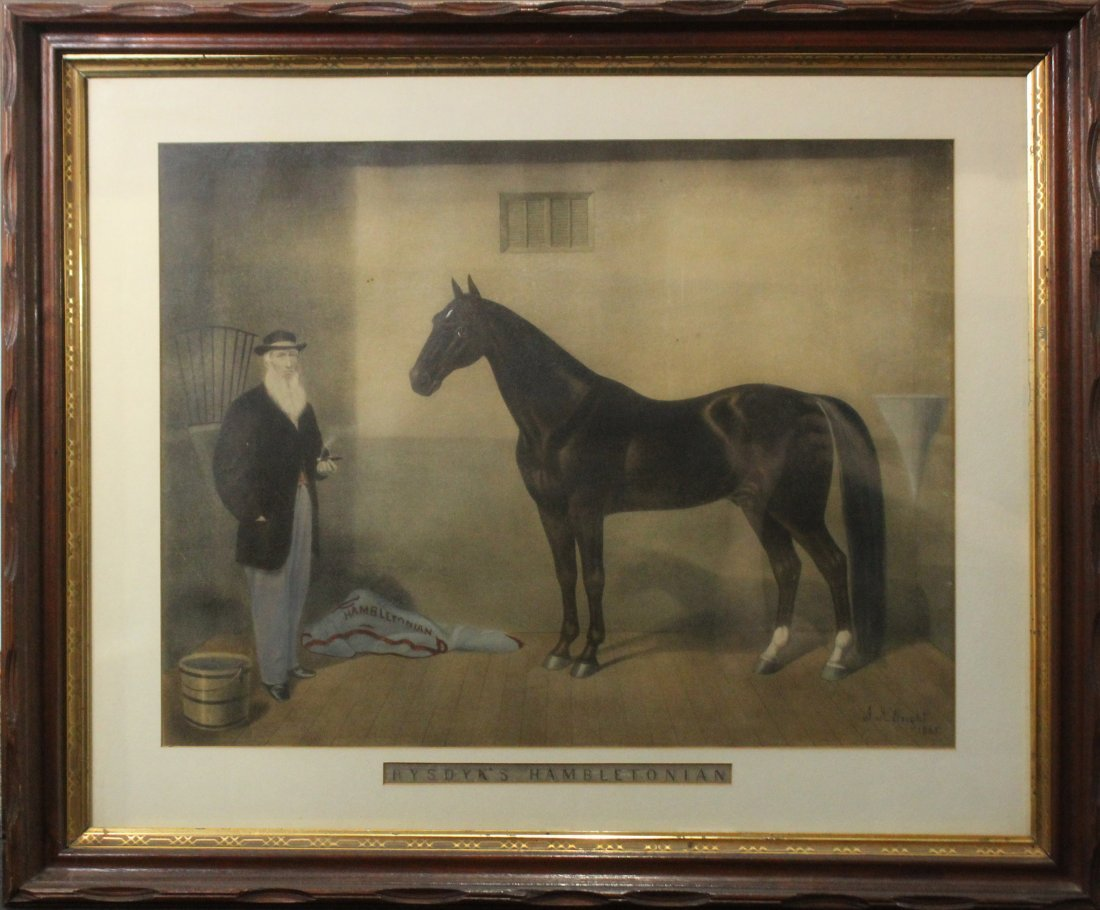 J H WRIGHT 1865 Colored Lithograph RYSDYKS HAMBLETONIAN