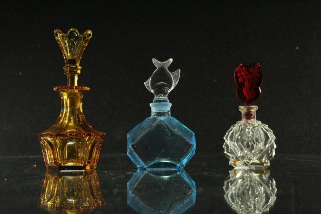 Three [3] Vintage ASSORTED COLORED GLASS PERFUME BOTTLE - 2