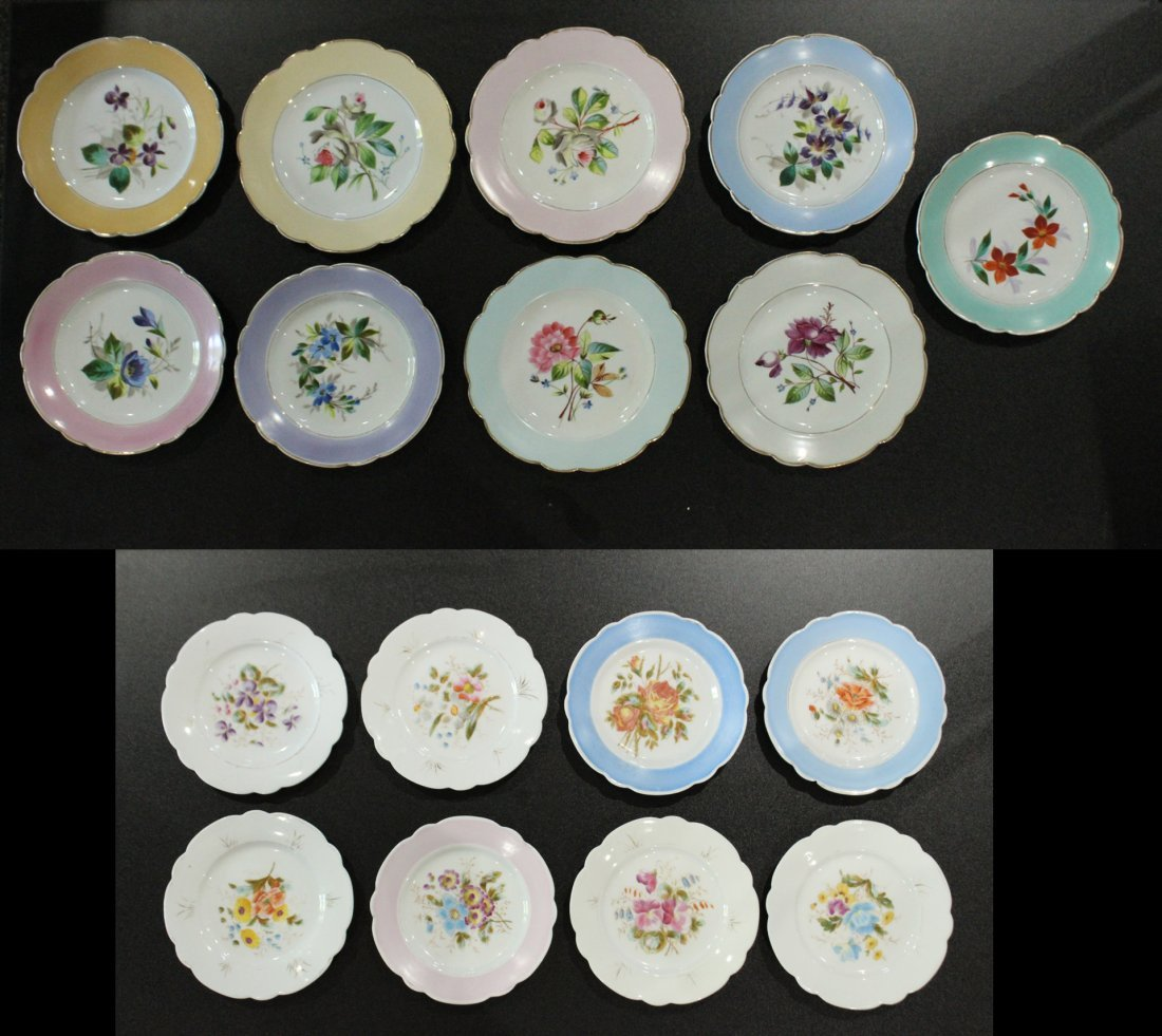 17 Assorted OLD PARIS HAND PAINTED FLORAL PLATES