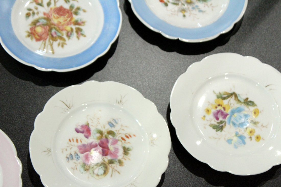 17 Assorted OLD PARIS HAND PAINTED FLORAL PLATES - 3