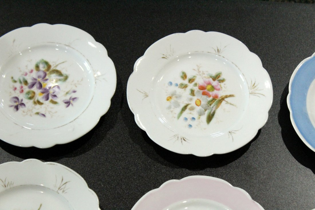 17 Assorted OLD PARIS HAND PAINTED FLORAL PLATES - 4