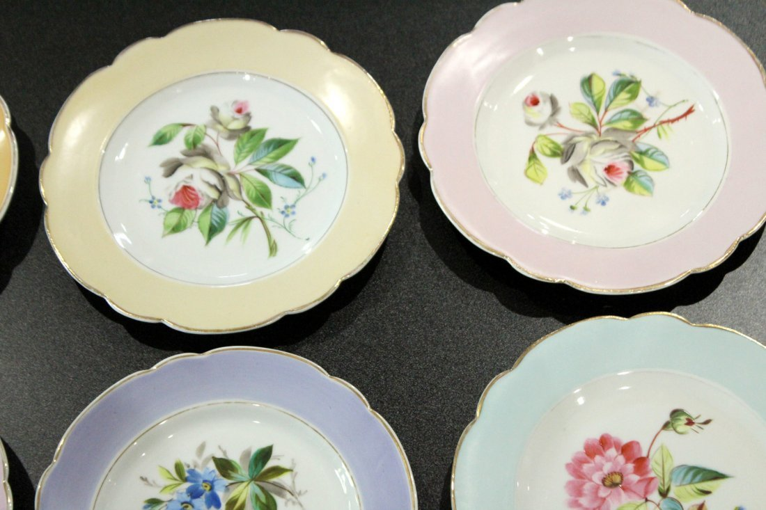 17 Assorted OLD PARIS HAND PAINTED FLORAL PLATES - 6