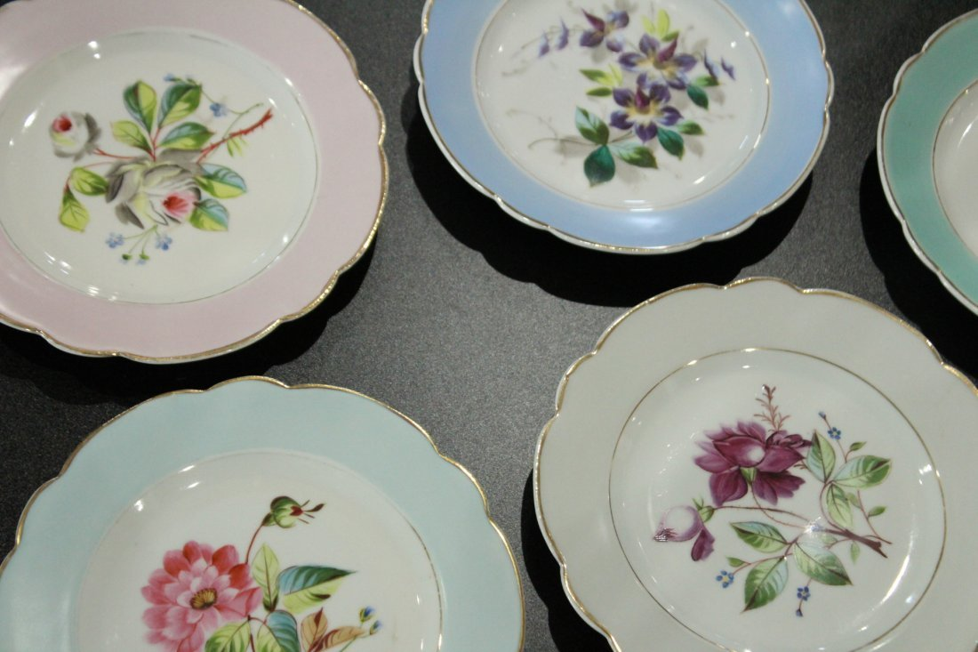 17 Assorted OLD PARIS HAND PAINTED FLORAL PLATES - 7