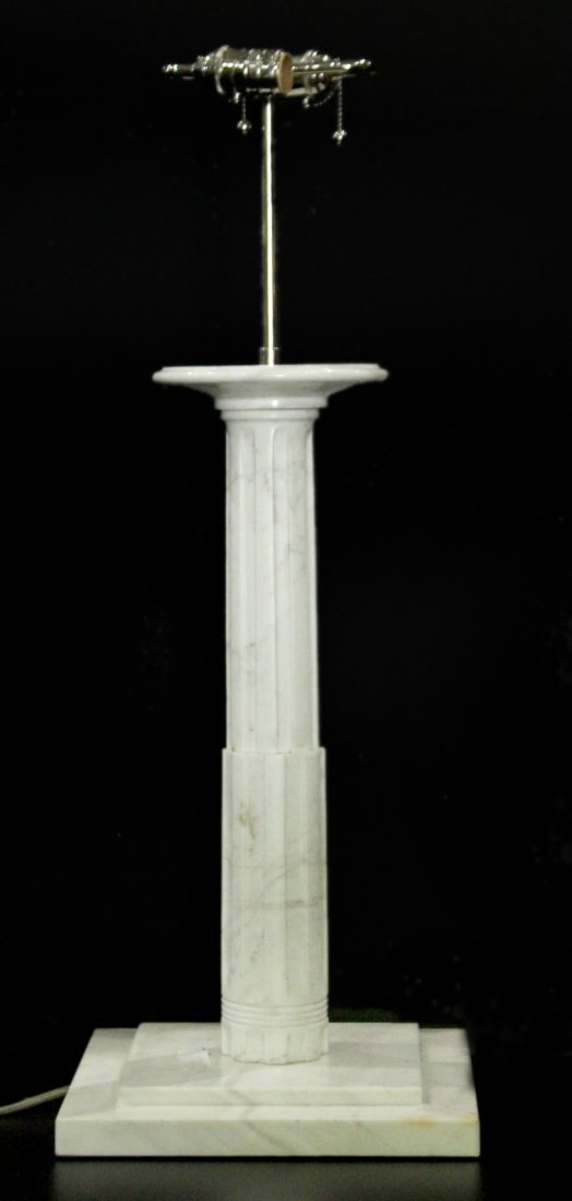 POLISHED WHITE MARBLE COLUMN TABLE LAMP
