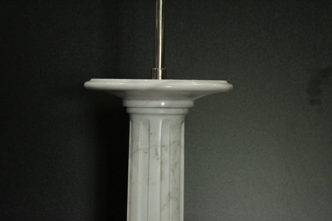 POLISHED WHITE MARBLE COLUMN TABLE LAMP - 2