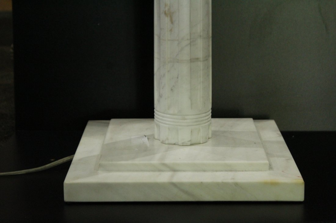 POLISHED WHITE MARBLE COLUMN TABLE LAMP - 3