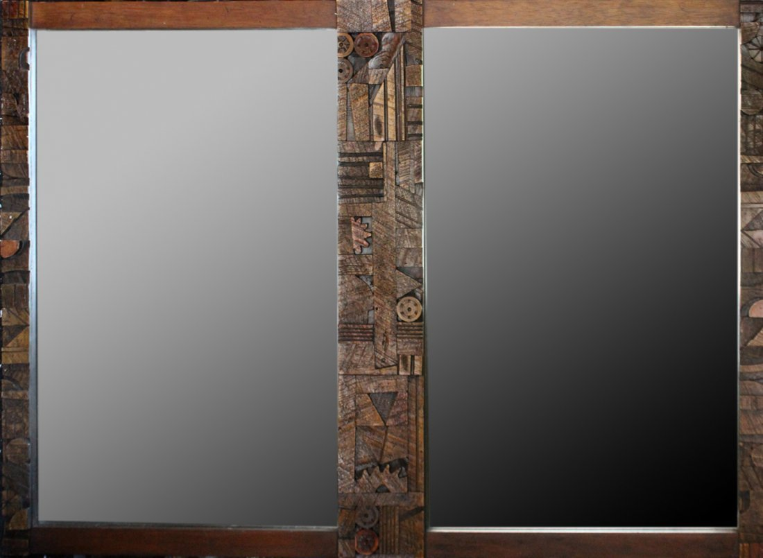 PAUL EVANS For LANE Double BRUTALIST WALL MIRROR
