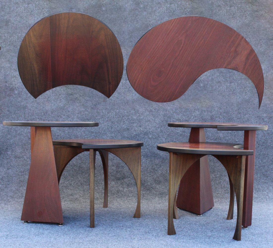 2 Pair Teak METAMORPHIC STANDS Designer John Rothschild