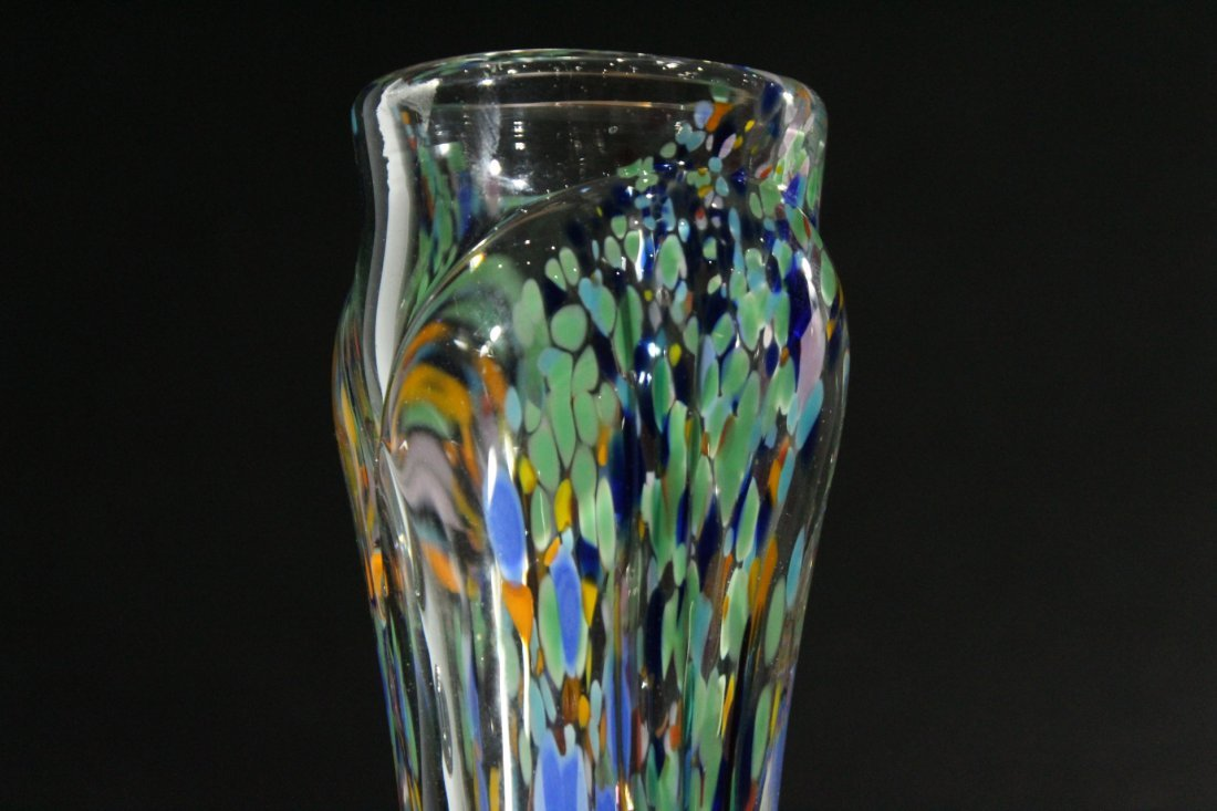 AUGUST HEUTER Signed STUDIO ART GLASS TALL VASE - 2