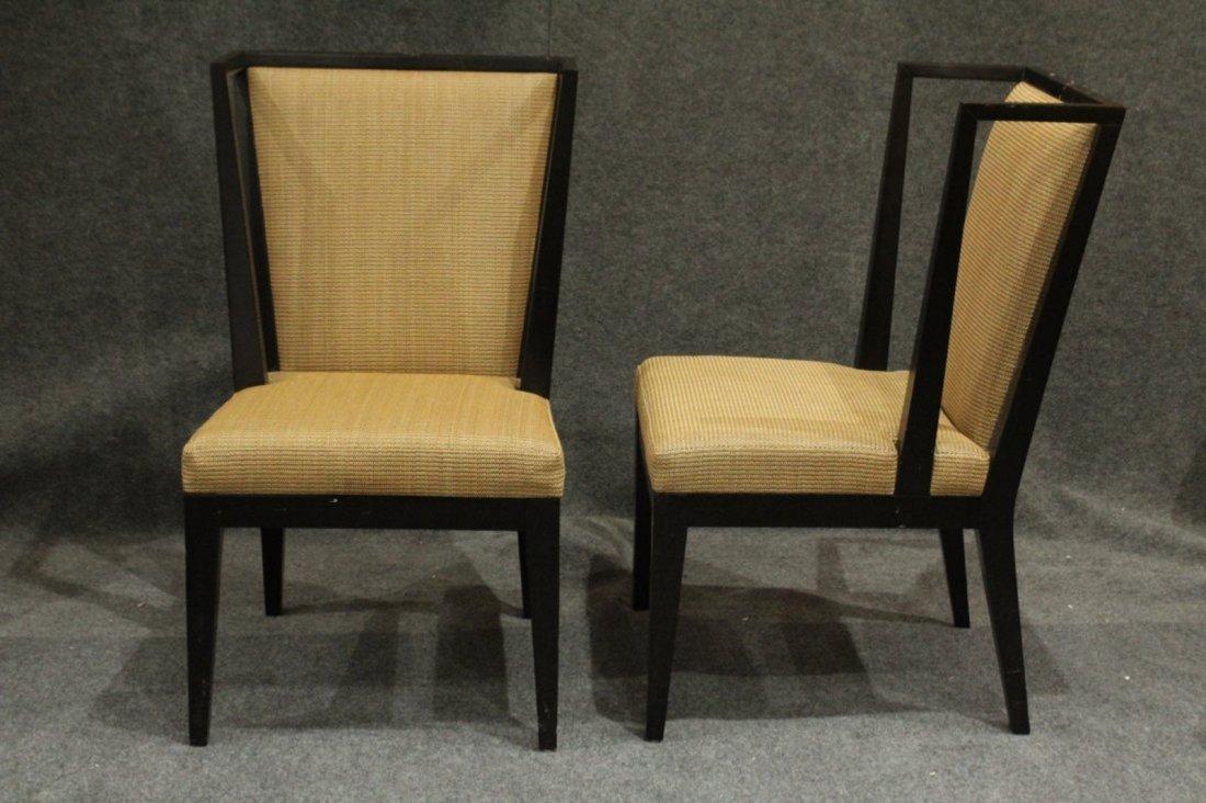Pair Mid-Century Modern Black Ebony Library Wing Chairs