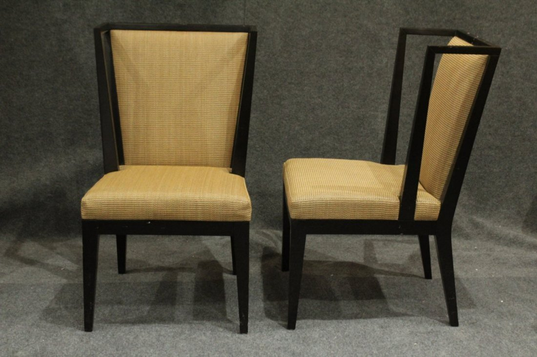 Pair Mid-Century Modern Black Ebony Library Wing Chairs