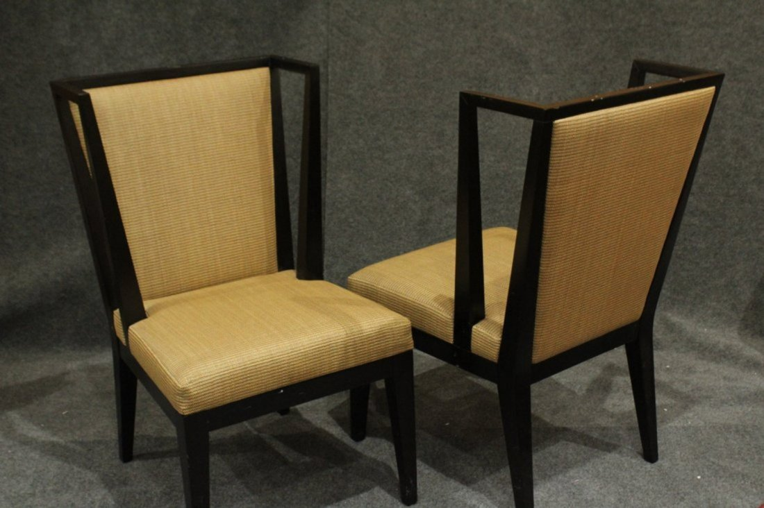 Pair Mid-Century Modern Black Ebony Library Wing Chairs - 2