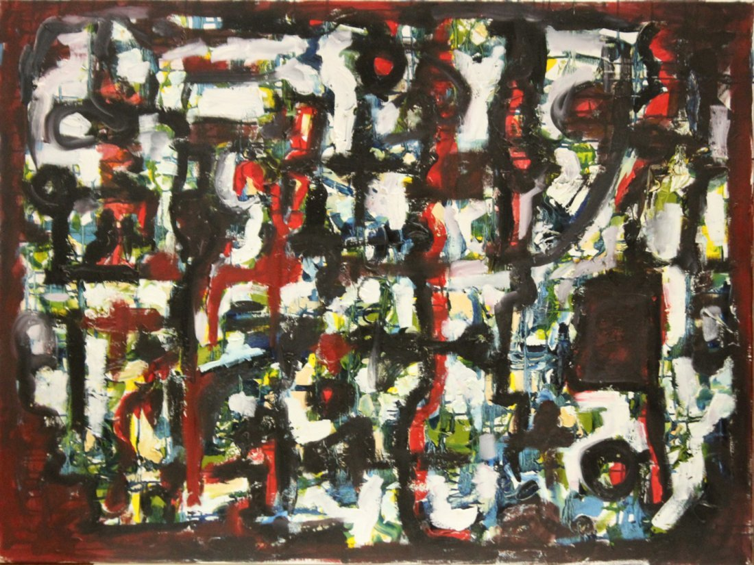 Mid-Century Design BUSY ABSTRACT OIL/C  Painting