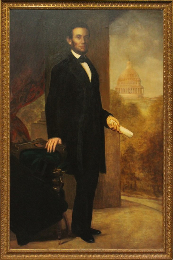 ABRAHAM LINCOLN FULL PORTRAIT - Large Oil Canvas Giclee