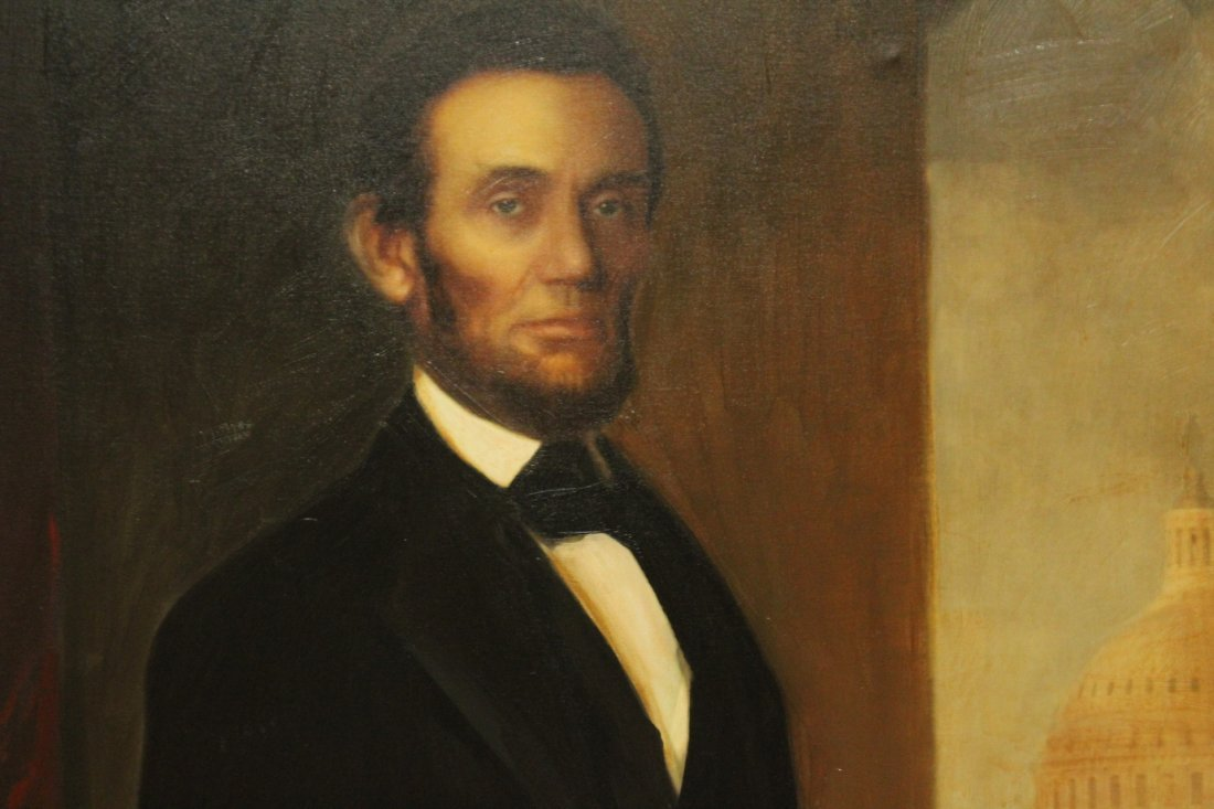 ABRAHAM LINCOLN FULL PORTRAIT - Large Oil Canvas Giclee - 2