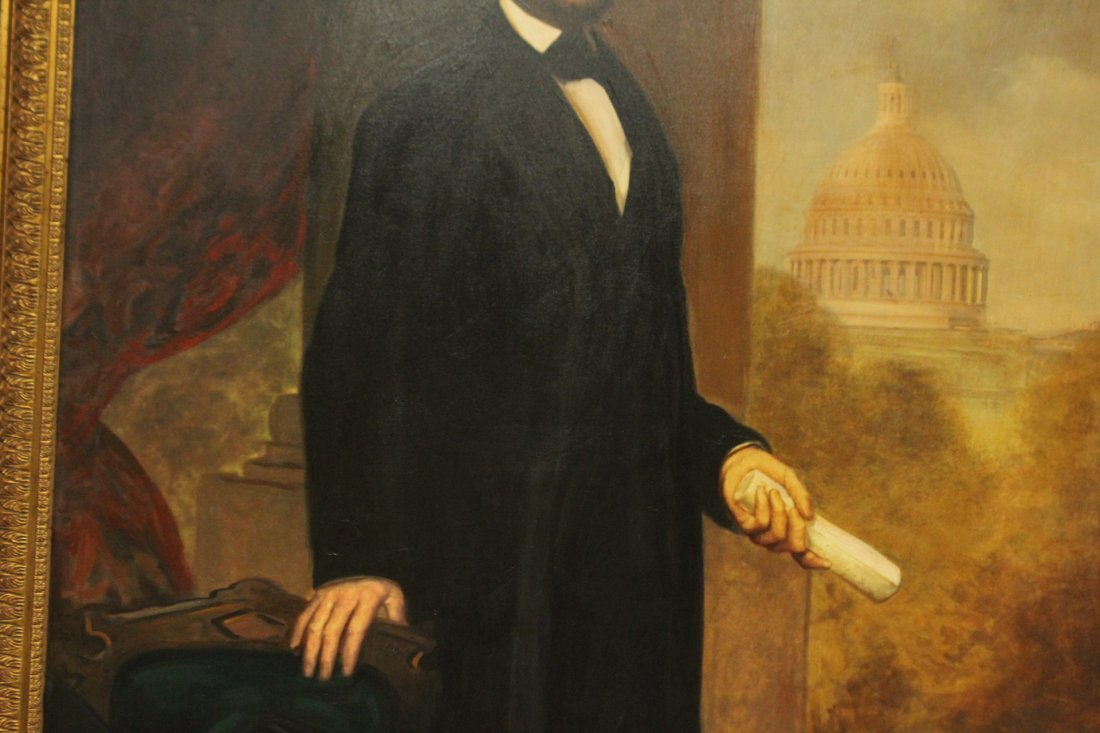 ABRAHAM LINCOLN FULL PORTRAIT - Large Oil Canvas Giclee - 3