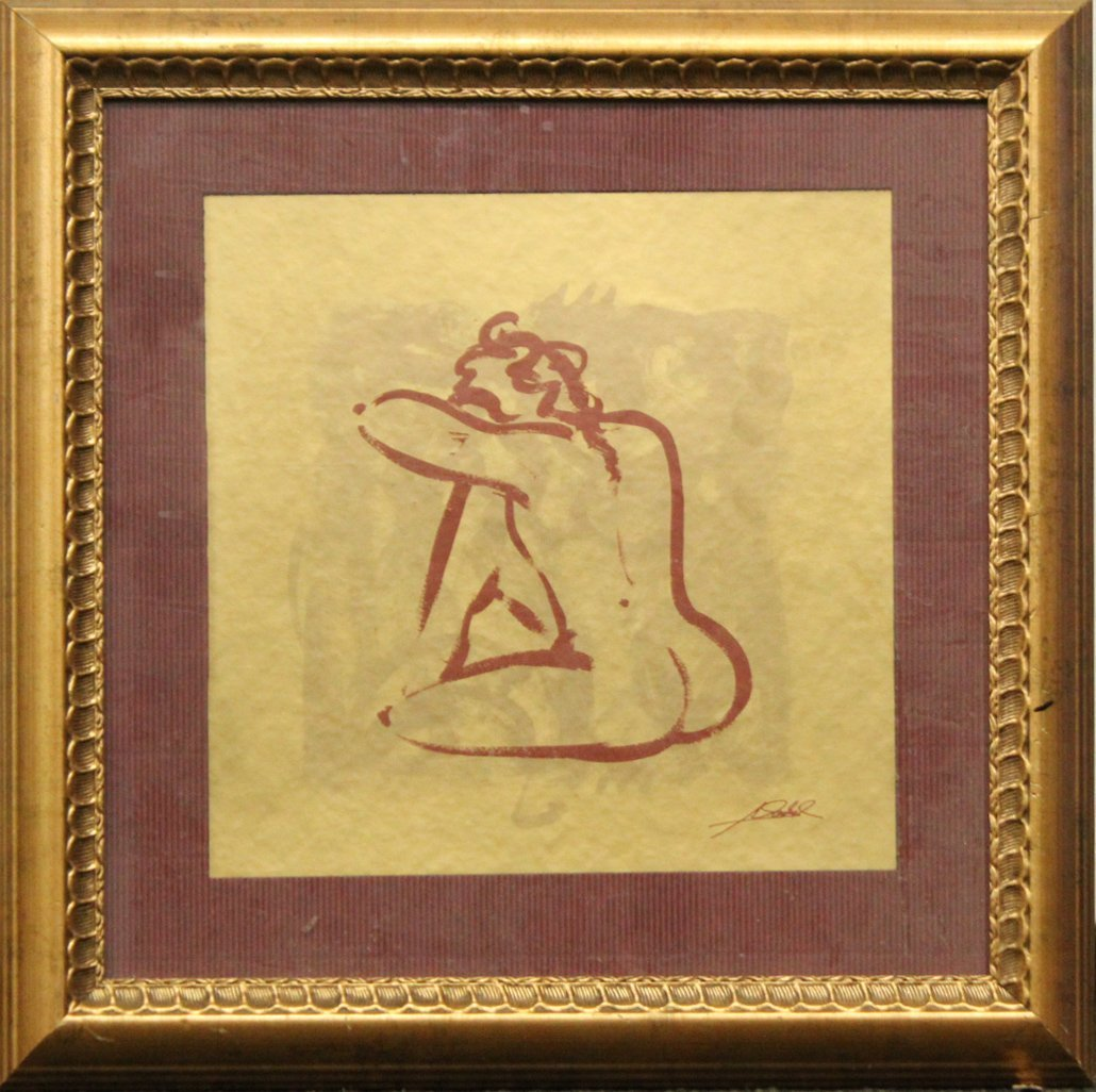 SEATED NUDE Ink on Paper Signed Illegible, Framed