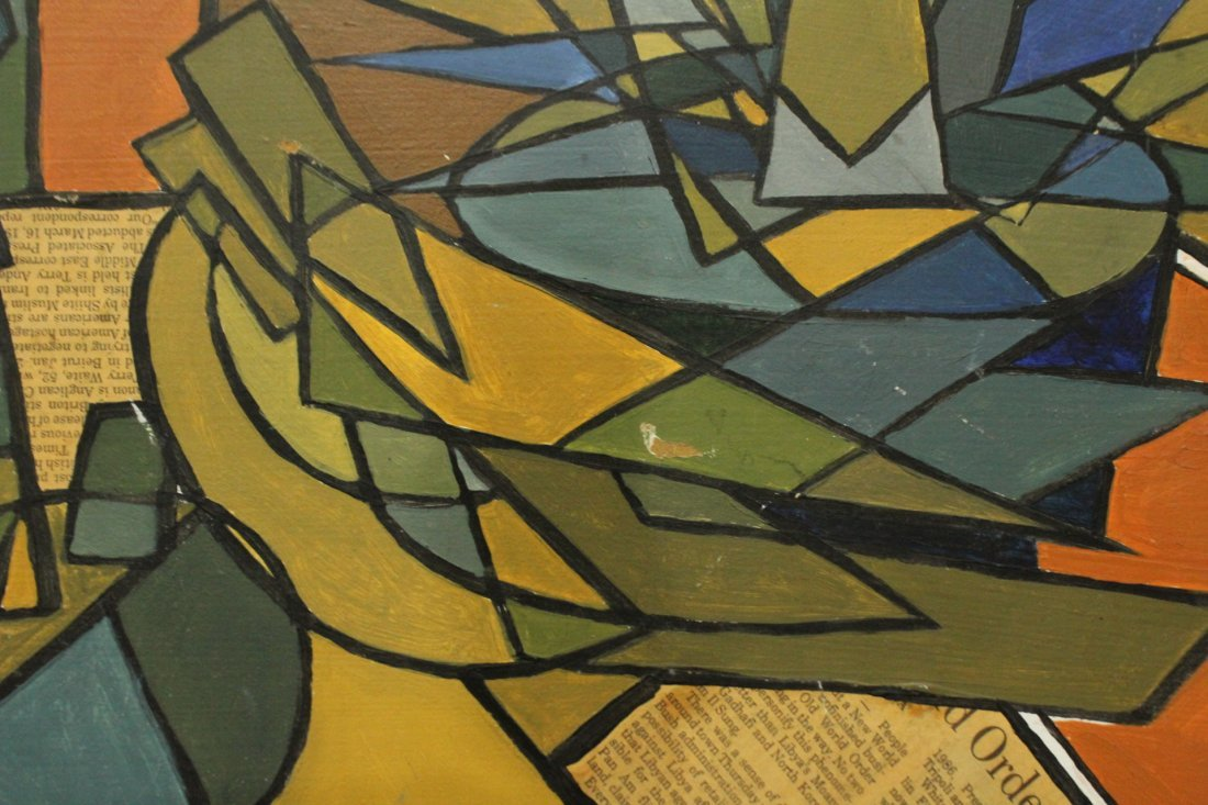 PIGEON, Mid-Century Modern ABSTRACT OIL and COLLAGE - 3