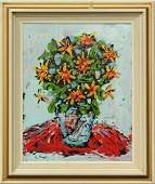 R MONTI Mid Century Abstract FLOWERS IN VASE OIL/C