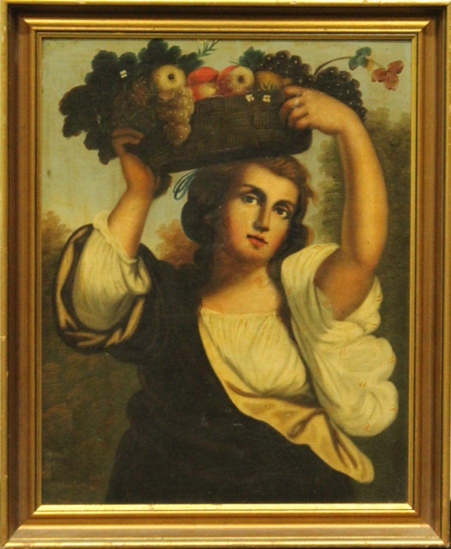 Early 19th C. ITALIAN OIL PAINTING GIRL BASKET OF FRUIT