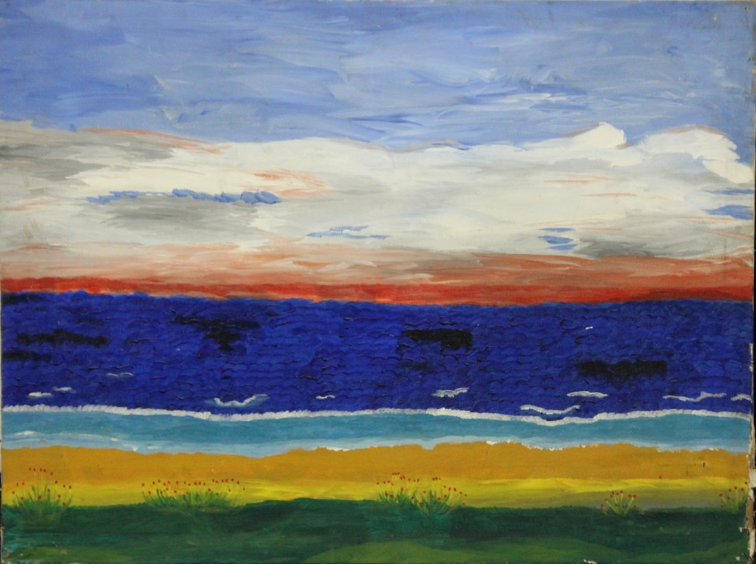 Modernism Landscape Oil/c Land. Ocean , Sky with Clouds