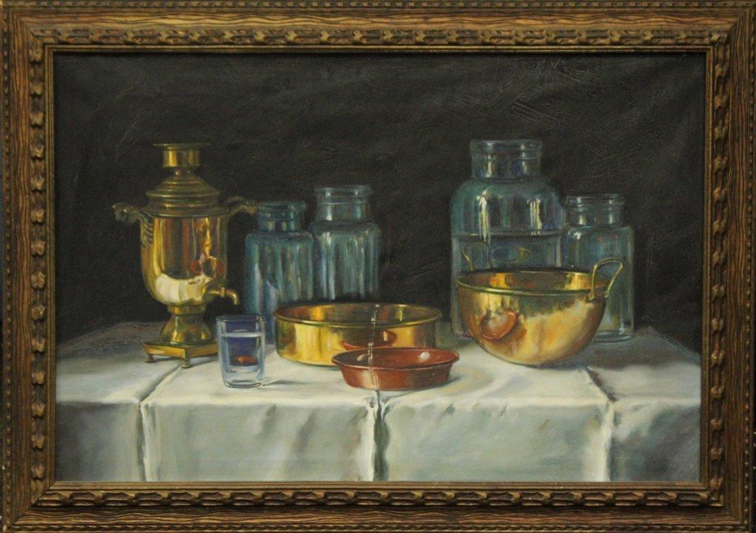 TAKACS, 1950s Oil/C Still Life Russian Samovar, Jars