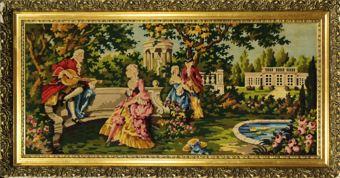 Petit Point Needlepoint CLASSICAL FIGURES IN GARDEN
