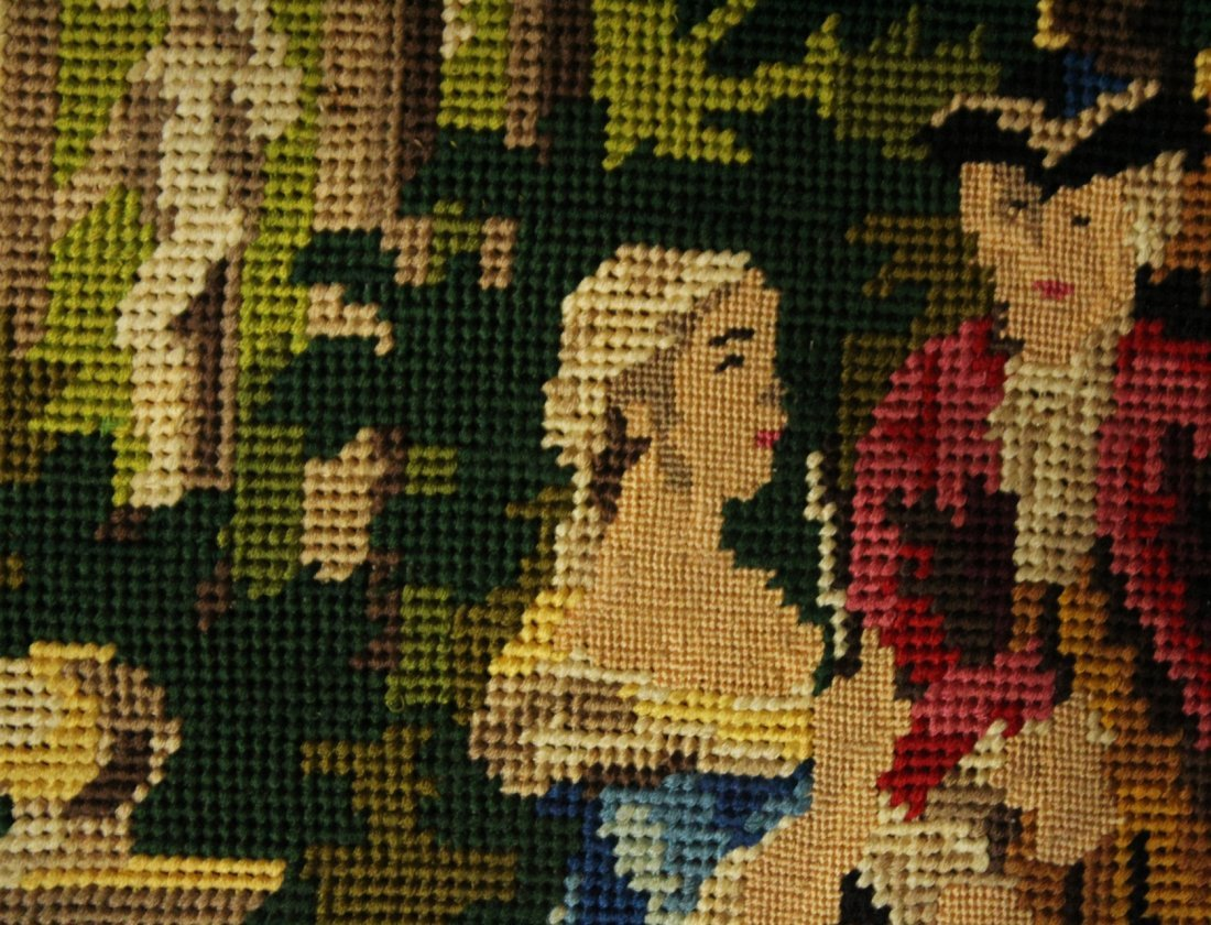 Petit Point Needlepoint CLASSICAL FIGURES IN GARDEN - 3