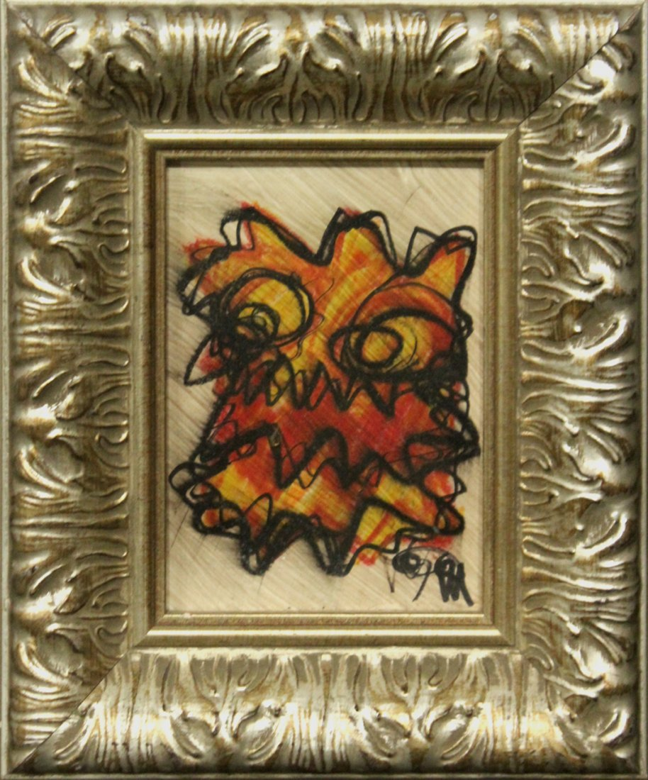 Mid-Century Modern OIL/B GROTESQUE FACE Signed Monogram