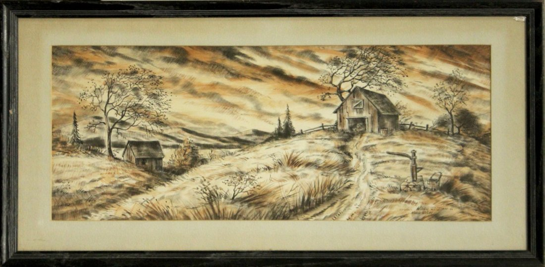 WILLIAM R DAM 1866; Watercolor & Ink , MARCH WINDS