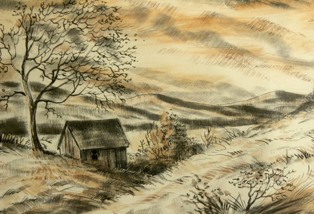 WILLIAM R DAM 1866; Watercolor & Ink , MARCH WINDS - 3