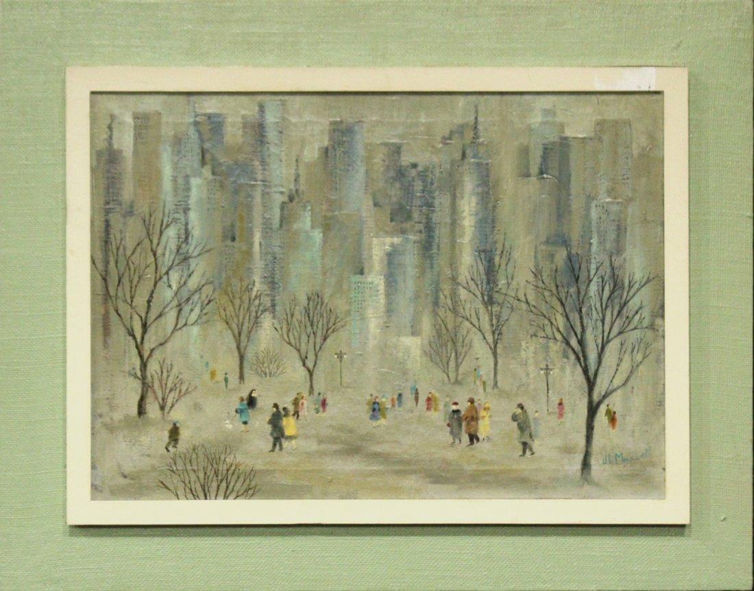 J L MAXWELL, 1950s OIL/C CENTRAL PARK,  NEW YORK CITY