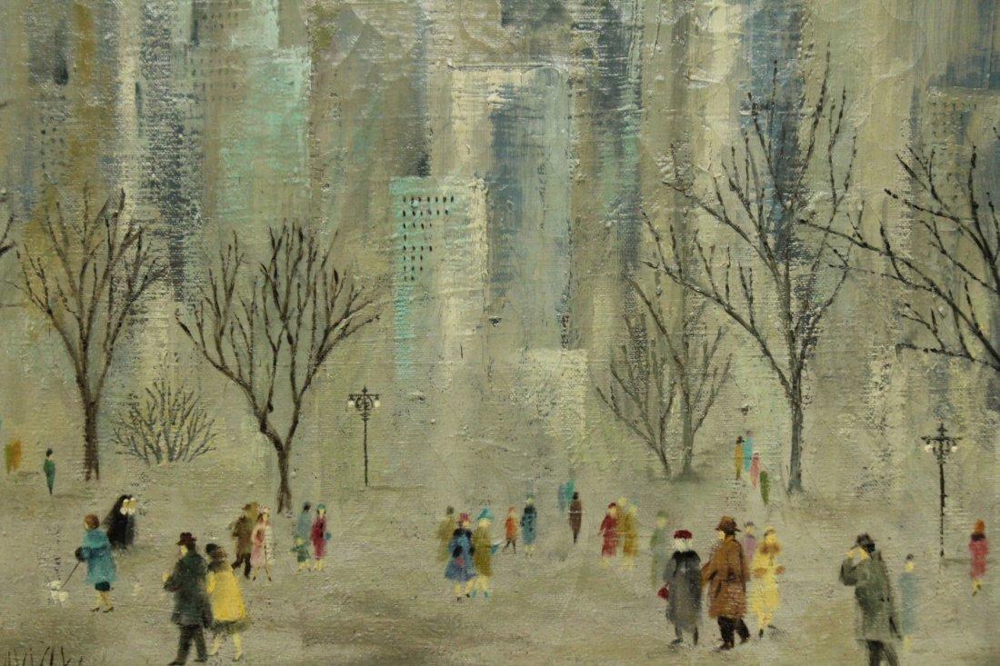 J L MAXWELL, 1950s OIL/C CENTRAL PARK,  NEW YORK CITY - 3