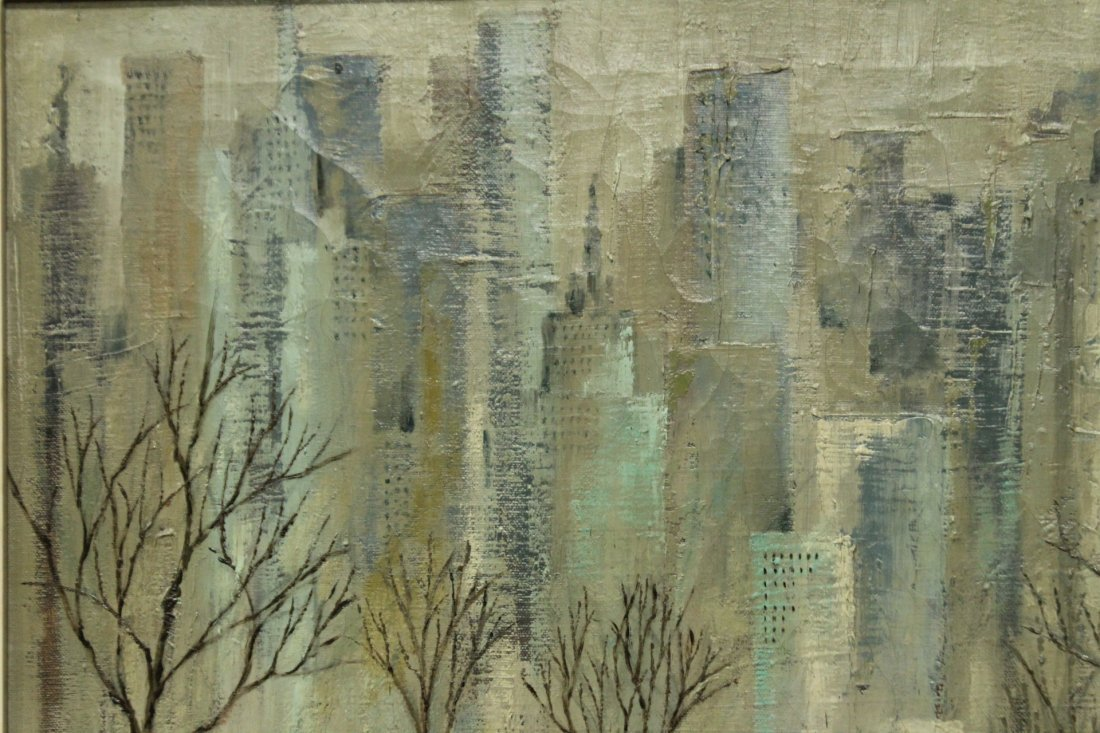 J L MAXWELL, 1950s OIL/C CENTRAL PARK,  NEW YORK CITY - 4
