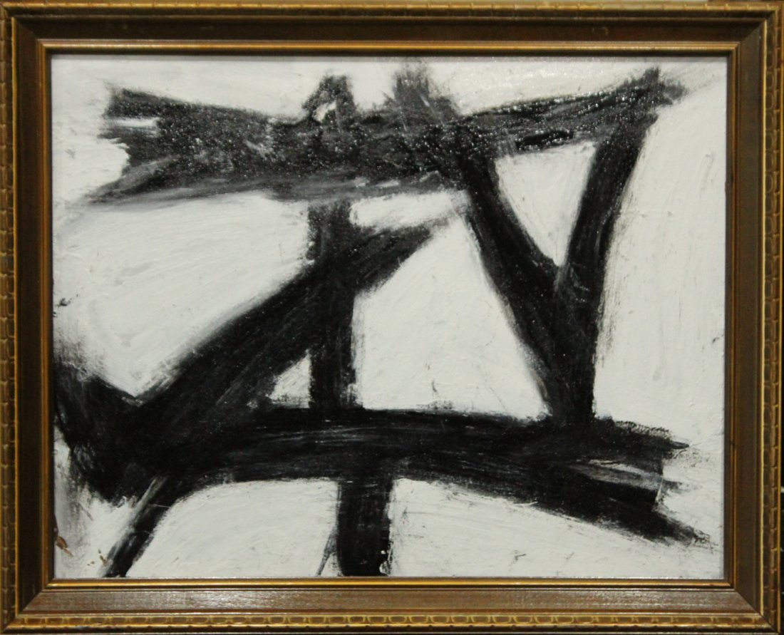FRANZ KLINE attributed Mid Century Modern Abstract Oil