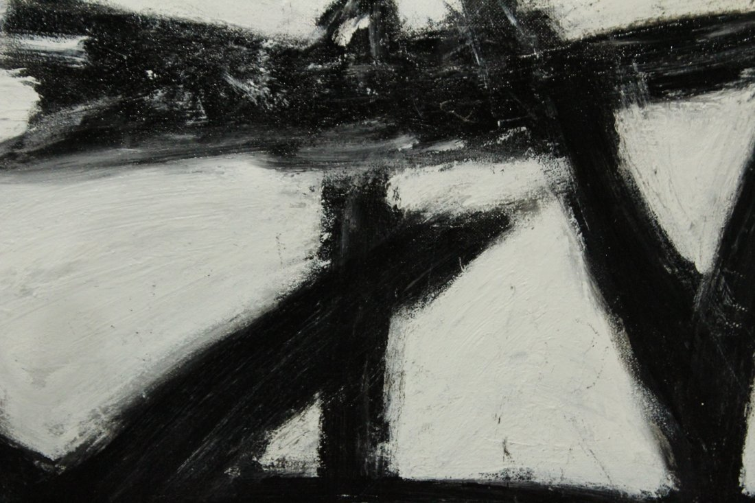 FRANZ KLINE attributed Mid Century Modern Abstract Oil - 2