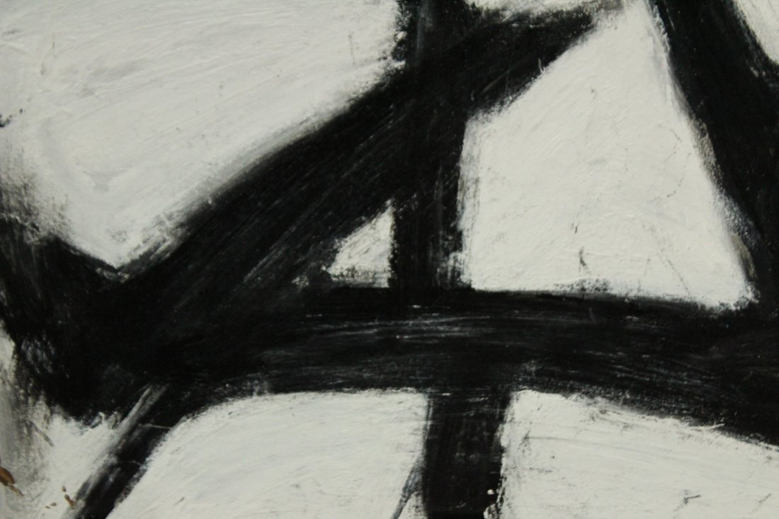 FRANZ KLINE attributed Mid Century Modern Abstract Oil - 3