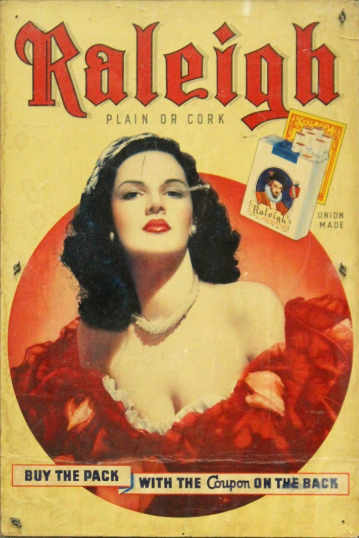Vintage Poster RALEIGH CIGARETTES Portrait Of Woman