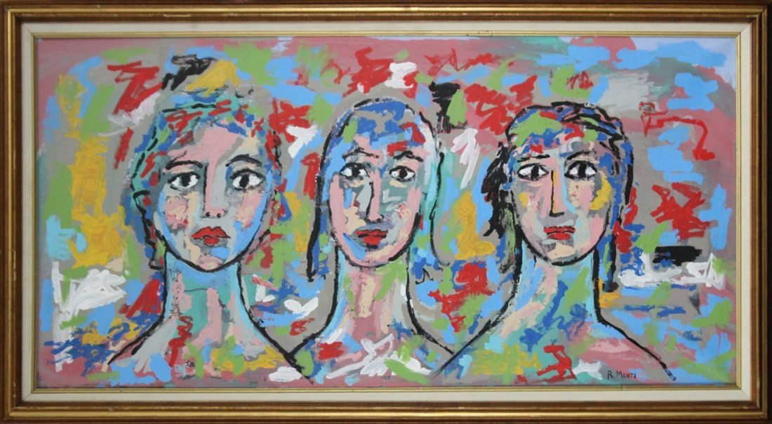 R. MONTI Portraits of Three Women in ABSTRACT OIL/C