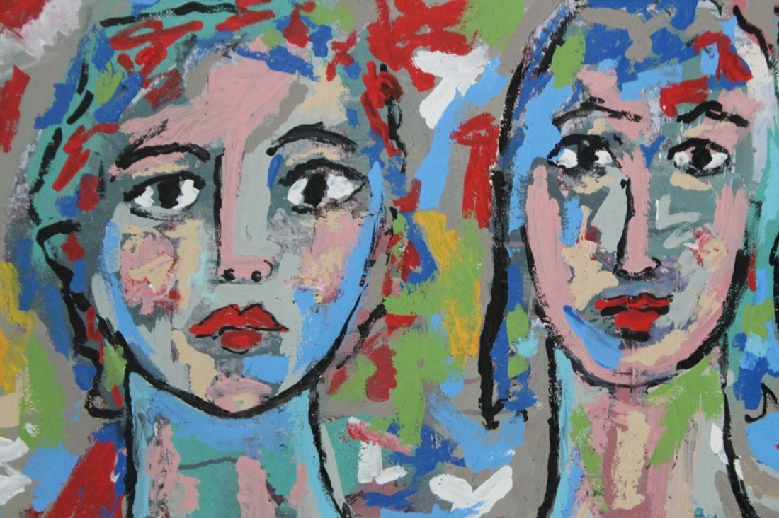 R. MONTI Portraits of Three Women in ABSTRACT OIL/C - 3