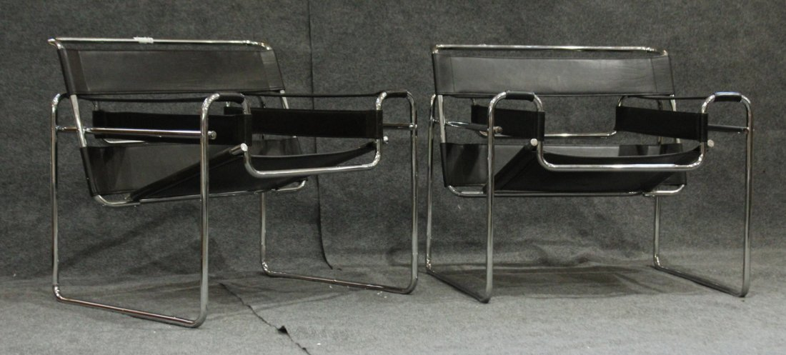 PAIR ORIGINAL KNOLL WASSILY BLACK LEATHER CHROME CHAIRS